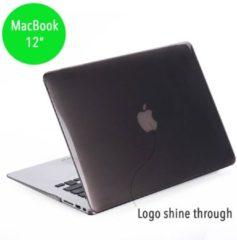 Grijze Glanzende hardcase hoes MacBook 12 inch grijs + gratis EU keyboardbescherming