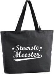 Bellatio Decorations Stoertse Meester shopper tas - zwart - 47 x 34 x 12,5 cm - boodschappentas / strandtas