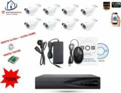 Witte Home-Locking camerasysteem met bewegingsdetectie en NVR 2.0MP H265 POE en 8 buitencamera's 2.0MP CS-8-489D