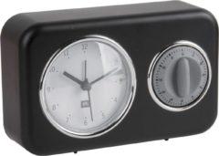 Pt, (Present Time) Nostalgia - Tafelklok met kookwekker - Plastic - 17x11x6cm - Zwart