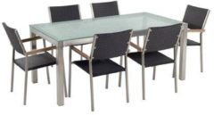 Beliani Tuinset matglas/RVS enkel tafelblad 180 x 90 cm met 6 stoelen zwart rotan GROSSETO