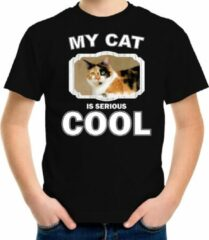 Bellatio Decorations Lapjeskat katten t-shirt my cat is serious cool zwart - kinderen - katten / poezen liefhebber cadeau shirt L (146-152)