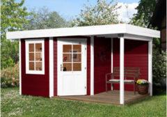 Weka tuinhuis met overkapping 213 Type A GR2 rood 298x298cm