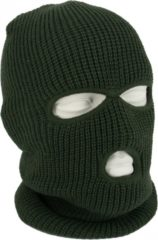 Fostex Driegaats muts / skimuts - groen - one size - outdoor / bivak / wintersport - warme eengaats balaclava