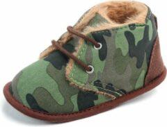 Donkergroene Jodeledokie Legergroene gewatteerde schoenen - Suède - Maat 18 - Zachte zool - 0 tot 6 maanden