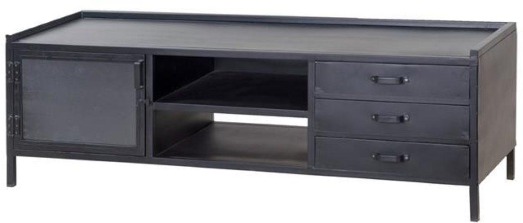 Afbeelding van Zwarte Eleonora TV Meubel Industrie B160 cm 1-Deurs 3-Laden - Zwart