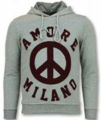 Tony Backer Flockprint Hoodie Heren - Peace Hoodie Mannen - Grijs Hoodies Heren Sweater Maat L