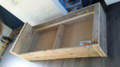 KSM-Steigerhout Bed ''Block'' van steigerhout - Gebruikt steigerhout - Eenpersoons met 2 lade- 90x200cm - Gemonteerd geleverd - Gratis bezorging