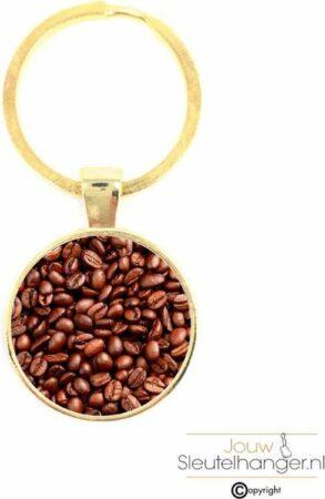 Afbeelding van Gouden MC Living Sleutelhanger Glas - Koffiebonen