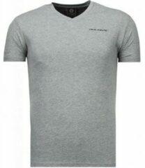 Grijze T-shirt Korte Mouw Local Fanatic Basic Exclusieve V Neck - T-Shirt