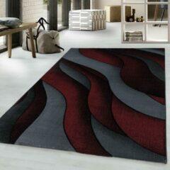 COSTA Impression Flow Design Laagpolig Vloerkleed Rood / Grijs / Zwart- 80x250 CM