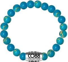 CO88 Collection Elemental 8CB 17030 Rekarmband met Stalen Element - Oceaan Natuursteen 8 mm - One-size - Blauw