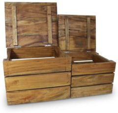 Bruine VidaXL Opslagkrattenset massief gerecycled hout 2-delig