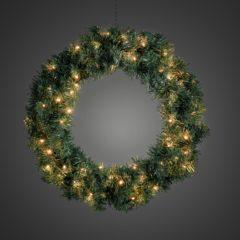 Groene Konstsmide Kerstkrans - Extra warm wit - ø60cm