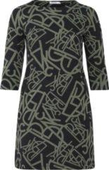 Paprika jurk met all over print zwart/olijfgroen