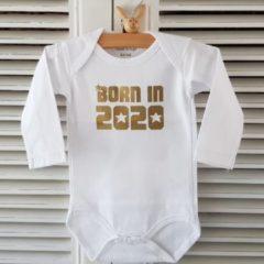 Merkloos / Sans marque Baby Rompertje unisex Born in 2020 | Lange mouw | wit goud| maat 62-68
