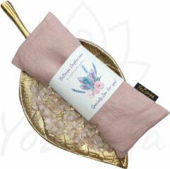 YoZenga oogkussen met Rozekwarts & biologische lavendel |kristallen/ edelstenen | Kleur: Lightcoral | Yoga | Meditatie | Ontspanning | Ideaal bij hoofdpijn & stress klachten | Moederdag cadeau
