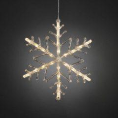 Witte Konstsmide Kerstverlichting buiten - Verlichte decoratie sneeuwvlok met timer LED 24 lampjes - 40 centimeter - Warm wit