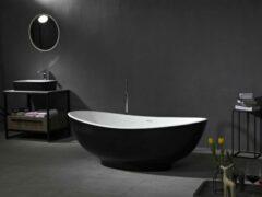 Mawialux vrijstaand bad | Solid surface | 178x90cm | Wit - zwart | ML-104-VBMG-WZ