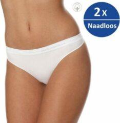 Brubeck Dames Ondergoed String - Naadloos Elastisch Katoen - 2 Pack - Wit - XL