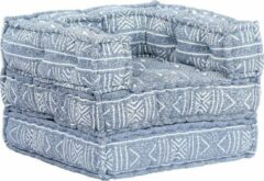 Merkloos / Sans marque Fauteuil Stof Blauw Patchwork (Incl FLEECE deken) / Loungestoel / Lounge stoel / Relax stoel / Chill stoel / Lounge Bankje / Lounge Fauteuil - Luxe Fauteuil