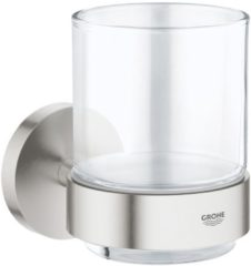 Roestvrijstalen GROHE Essentials Glashouder RVS - incl. glas