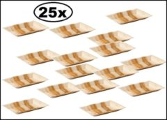 Bruine Biodore 25x Bord palmblad rechthoekig 25x16cm