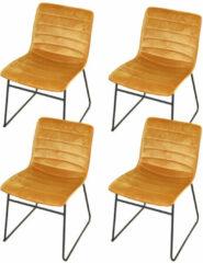 Gebor Set van 4 eetkamerstoelen fluweel – Model Brooklyn - Modern Ontworpen Stoel – Okra Geel Velvet – Design – Fluweel - Yellow