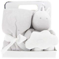 Clayre & Eef Plaid met knuffel - 75*75 / 20 cm - wit - 100% polyester - eenhoorn - wolk - Clayre & Eef - KT060.073