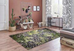 Aledin Carpets Madagascar - Laagpolig - Vloerkleed 160x230 cm - Groen Zwart - Tapijten woonkamer