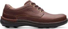 Bruine Clarks Nature Three Heren Veterschoenen - Mahogany Leather - Maat 45