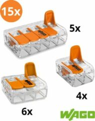 Oranje Wago by electroinstallatie Wago lasklemmen assortiment serie 221 - 2, 3 en 5 voudig (15 stuks)