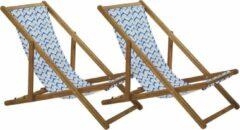 Beliani Strandstoel set van 2 acaciahout stof lichtbruin/blauw ANZIO