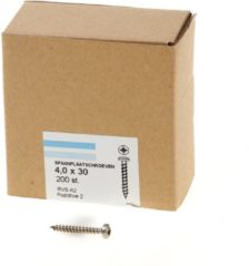 Hoenderdaal Spaanplaatschroef roestvaststaal A2 cilinderkop pozidrive-2 4.0X30 voldraad (200)