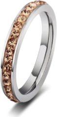 Zilveren Amanto Ring Erien Gold - Dames - 316 Staal PVD - Zirkonia - 4 mm - maat 58 - 18,5 mm