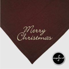 Sagaform Sagafrom linnen tafellaken en servetten, bruin bedrukt met MERRY CHRISTMAS