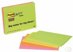 Post-It Super Sticky meeting notes, ft 98,4 x 149 mm, 45 vel, 4 blokken in geassorteerde kleuren