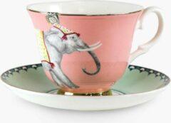 Roze Yvonne Ellen porseleinen kop en schotel met olifant en jong