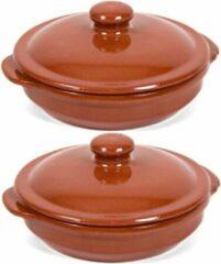 Merkloos / Sans marque 2x Stenen ovenschalen met deksel bruin/ terracotta 18 cm - Terracotta ovenschalen/stoofpotten