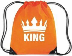 Bellatio Decorations Oranje Nylon Rijgkoord Rugzak/ Sporttas King
