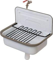 Witte Plieger Basic Uitstortgootsteenpack - uitstortgootsteen - tapkraan - sifon - plaatstaal - wit