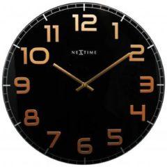 Zwarte NeXtime Classy Large - Klok - Stil Uurwerk - Groot - Rond - Glas - Ø 50 cm - Zwart / Koperkleurig