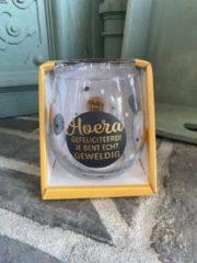 Gouden Creaties van hier Wijn - water glas / Hoera gefeliciteerd je bent echt geweldig / wijnglas / waterglas / leuke tekst / moederdag / vaderdag / verjaardag / cadeau
