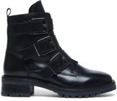 Manfield - Dames - Zwarte biker boots - Maat 40