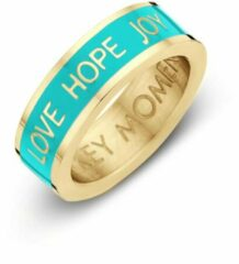 Key moments 8KM-R0007-56 Stalen Ring - Dames - Turkoois - Emaille - LOVE HOPE JOY - Maat 56 - Staal - Gold Plated