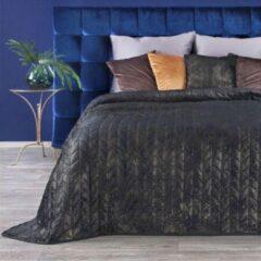 Luxe bed deken Brulo Polyester sprei 170x210 cm Gewicht-210+75+120 GSM zwart - goud