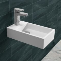 Douche Concurrent Fontein Toilet - Toiletmeubel Wc Solid Surface - Mat Wit Links 40x22 cm