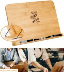 Bruine VITAMO™ Premium Kookboekstandaard met 5 Standen - Boekenstandaard - Kookboekhouder - Standaard - Zware Kookboeken - Leesboeken - Tablets - Handsfree Lezen - Verstelbaar en Inklapbaar - Duurzaam FSC Bamboe - Rose Gravering - Cadeau Tip