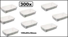 Thema party 300x Friet/snack bakje karton krijtbord XL 155x85x38mm - Patat friet frites bakje snack bak