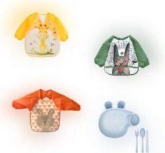 Groene Humble & Noble Slabbetjes Lange Mouwen Slabbers Baby 3 Stuks Bonus Kinderservies Met Bestek - Aan Tafel
